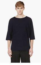 UMIT BENAN Navy Merino Wool T-Shirt for men