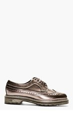 DR. MARTENS Pewter Patent Leather 3989 Longwing Brogues for men