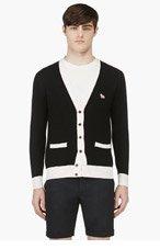 MAISON KITSUNE Black & Cream Merino Wool Cardigan for men