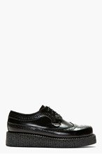 UNDERGROUND Black Buffed Leather Macbeth Wingtip Creeper Shoes for men
