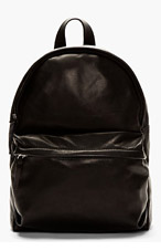 SILENT BY DAMIR DOMA Black Smooth Leather Bay Men Backpack for men