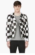 SAINT LAURENT Black & White Check Walt Jabsco Biker Jacket for men