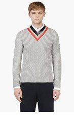 MONCLER GAMME BLEU Grey Striped V-Neck Rowing Sweater for men