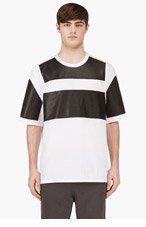 ALEXANDER WANG White & black LEATHER PATCHWORK T-shirt for men