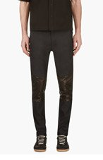 ALEXANDER WANG Deep Navy Leather-paneled Trousers for men