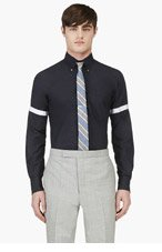 THOM BROWNE Slate Blue Cinch Sleeve Button Down Shirt for men