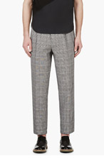 UMIT BENAN Black & White Glenplaid trousers for men