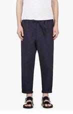 UMIT BENAN Navy Stripe Relaxed Fit Trousers for men