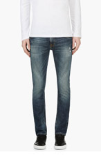 NUDIE JEANS Blue Organic Distressed TAPE TED Jeans for men
