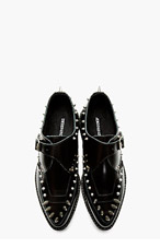 UNDERGROUND SSENSE EXCLUSIVE - Black Buffed Leather Spike & Stud Platform Shoes for men