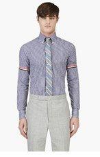 THOM BROWNE Navy Gingham Cinch Sleeve Shirt for men