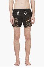 MARCELO BURLON COUNTY OF MILAN Black Snake & Logo Print Swim Shorts for men