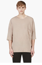 UMIT BENAN Beige Merino Wool T-Shirt for men