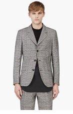 UMIT BENAN Grey Check Linen Blend Summer Blazer for men