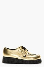 UNDERGROUND Gold Leather Wulfrun Creeper Shoes for men