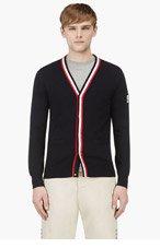 MONCLER GAMME BLEU Navy Cotton Stripe Trim Y-Front Cardigan for men