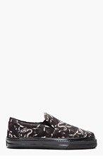 MARCELO BURLON COUNTY OF MILAN Black Snake Print Slip-On Shoes for men