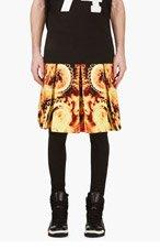 GIVENCHY Orange Flame Print A-Line Skirt for men