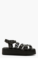 UNDERGROUND Black Patent & Etched Leather Double Sole Sandals for men