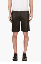 T BY ALEXANDER WANG Black High Gloss Lounge Shorts for men
