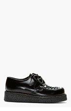 UNDERGROUND Black Leather Wulfrun Creepers for men