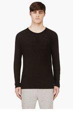T BY ALEXANDER WANG Black Long Sleeve Silk Jersey T-Shirt for men