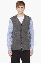 MARNI Grey & blue Cashmere Candy striped Mixed Cardigan for men