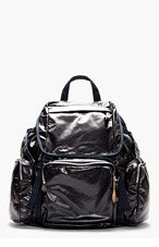 MARNI Navy Glossy Leather Backpack for men