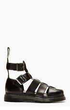 DR. MARTENS Black Leather Geraldo Sandals for men