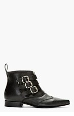 UNDERGROUND Black Leather Blitz Winklepicker Ankle Boots for men