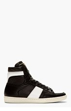 SAINT LAURENT Black & white leather high-TOP SNEAKERS for men