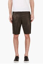 ALEXANDER WANG Black Leather Perforated Shorts for men