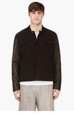 T BY ALEXANDER WANG Black Denim & Leather Hybrid Bomber Jacket for men