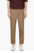 UMIT BENAN Beige Tonal Stripe Slim Trousers for men