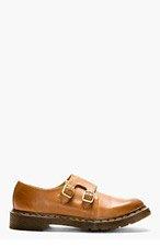 DR. MARTENS Brown Leather Monk Strap Jules Shoes for men