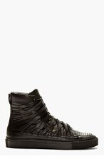 DAMIR DOMA Black Leather Carved High-Top Sneakers for men