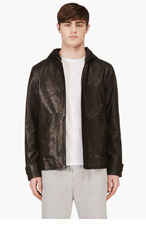 T BY ALEXANDER WANG Black Grained LEATHER HOODIE for men