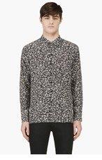 SAINT LAURENT Black & Beige Silk Brush stroke shirt for men