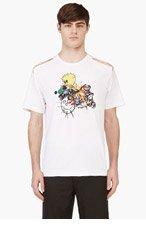 COMME DES GARÇONS HOMME PLUS White Slashed Short Sleeve Graphic T-Shirt for men