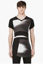 JULIUS Black Abstract Rib Jersey T-Shirt for men