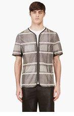 ALEXANDER WANG Black Goat Skin Check Print Zip-Up T-Shirt for men