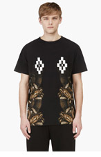 MARCELO BURLON COUNTY OF MILAN Black Short Sleeve Logo & Snake Print T-Shirt for men