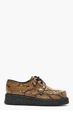 UNDERGROUND Khaki Snake Pattern Leather Creeper Shoes for men