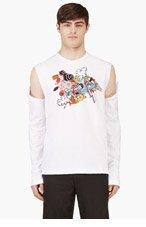 COMME DES GARÇONS HOMME PLUS White Slashed Long Sleeve Graphic T-Shirt for men