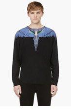 MARCELO BURLON COUNTY OF MILAN Black & Indigo Wing Print T-Shirt for men