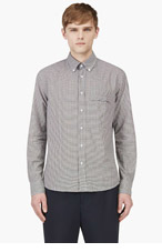 UMIT BENAN Brown & Navy Gingham Check Button Down Shirt for men