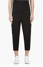 UNDERCOVER Black Wool Cropped Cargo Trousers for men