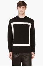 T BY ALEXANDER WANG Black Knit White Square Motif Crewneck for men