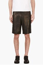 T BY ALEXANDER WANG Black grained LEATHER SHORTS for men
