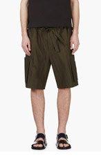 UMIT BENAN Green Tonal Stripe Shorts for men